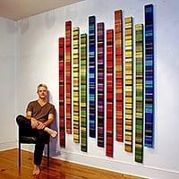 "Continuum Sliver | Size: 82""H x 63""W x 1.5""D (72""H x 4""W x 1.5""D per panel) | Medium: acrylic paint on wood panels"