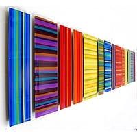 "Linear UPC II   Dimensions: 86""W x 17""H   Medium: acrylic paint on (qty 14) 4-8""W x 17""H acrylic panels"