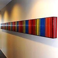 "Continuum 7 | Continuum 7 | Dimensions: 216""W x 13""H x 3""D | Medium: acrylic on wood panel | Location: Morris. Manning & Martin | Atlanta, GA"