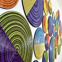 Split Circles 2 | Dimensions: 13' wide x 6' high | Medium: acrylic paint on wood with hi gloss resin top coat