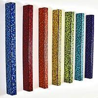 "Plateau Cubed | Dimensions: (qty 7) panels / 48""H x 2""W x 4""D | Medium: acrylic on wood panel"