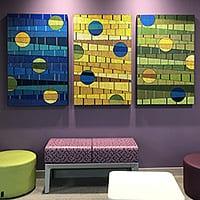 Fractured II   Dimensions: 31″W x 48″H per panel   Medium: acrylic mediums on wood