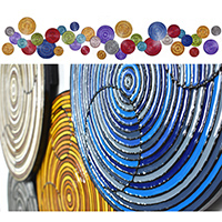 Overlapping Circles 2 | Dimensions: 28ft W x 5ft H x 2in D | Medium: acrylic and resin on wood