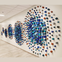 Cluster Exploding Circle | Dimensions: 25 ft W x 7 ft H x 2in D | Medium: acrylic on wood